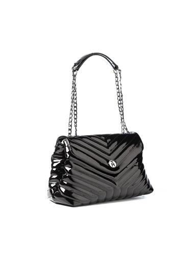 TH Bags TH Bags 2THCW2020029 Çizgili Desenli Rugan Kadın Omuz Çantası Siyah